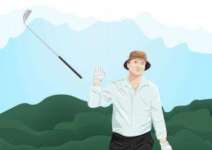 Bill Murray tossing an Iron during a golf round.